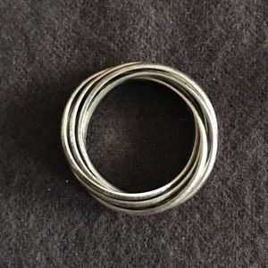 Vintage Sterling Silver 6 entangled rings set